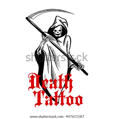 Spooky halloween ghost or grim reaper character in long hooded coat with liripipe holding scythe in both hands with caption Death Tattoo below. Use as death mascot or t-shirt print design - stock vector