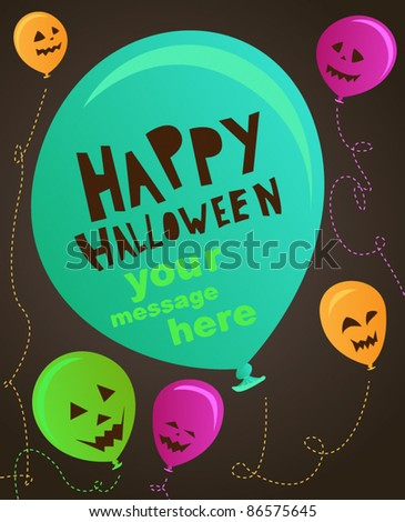 Spooky happy halloween party balloon set - stock vector