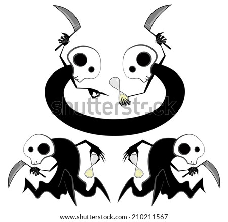 Spooky reapers counting time  - stock vector