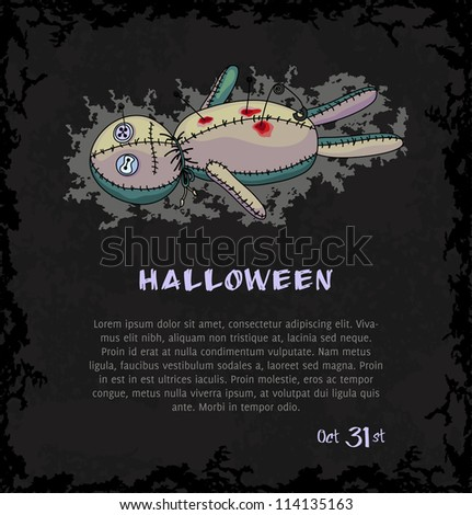 Spooky voodoo doll with pins and blood. Dark grungy halloween background. Vector Illustration. - stock vector