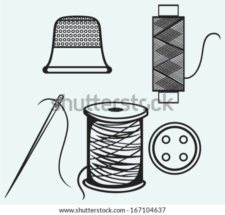 Spool with threads, sewing button and thimble isolated on blue background - stock vector