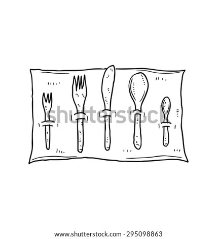spoon and fork on napkin - stock vector