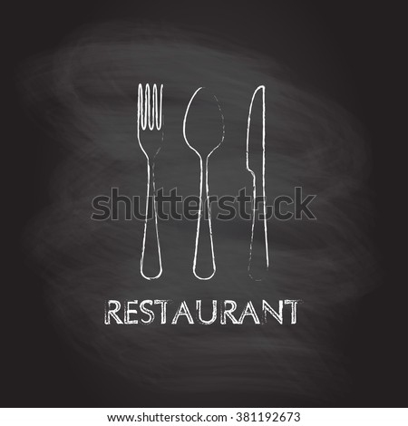 Spoon, fork and knife flat icons. Restaurant emblem template isolated on blackboard texture with chalk rubbed background. Kitchen utensils. Vector illustration. - stock vector