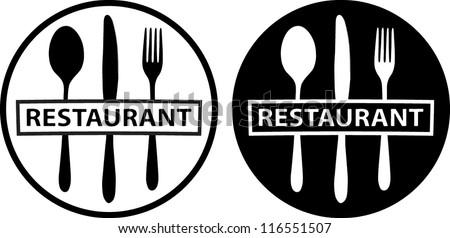 spoon, knife and fork, (food icon, food symbol, restaurant label, restaurant symbol) - stock vector