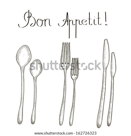 Spoon, Knife and Fork Seamless Sketch Set. Vector Illustration. - stock vector