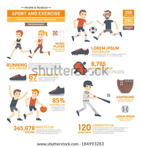 Sport and Exercises Infographics  - stock vector