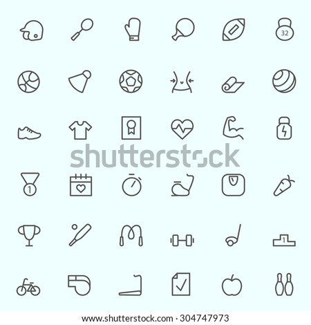 Sport and fitness icons, simple and thin line design - stock vector