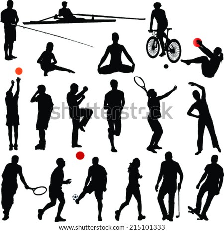 sport and recreation silhouettes - vector - stock vector