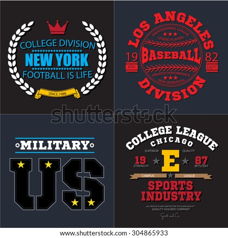 Sport athletic champions college baseball football military logo emblem collection. Vector Graphics and typography t-shirt design for apparel. Colored version. - stock vector
