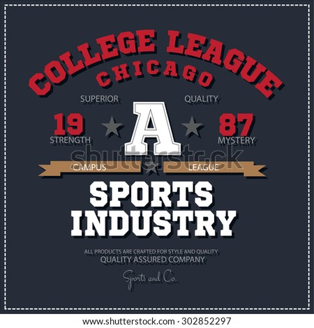 Sport athletic champions college league Chicago logo emblem. Vector Graphics and typography t-shirt design for apparel. Isolated very easy to use.  - stock vector