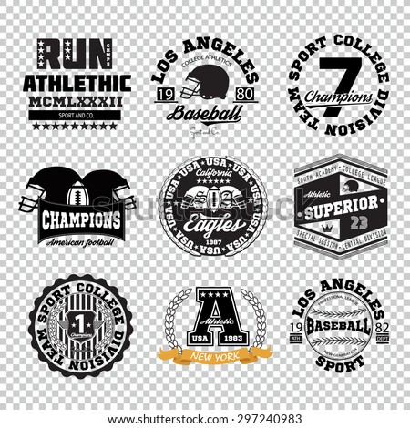 Sport athletic champions college varcity baseball football logo emblem collection. Vector Graphics and typography t-shirt design for apparel. Isolated very easy to use. - stock vector