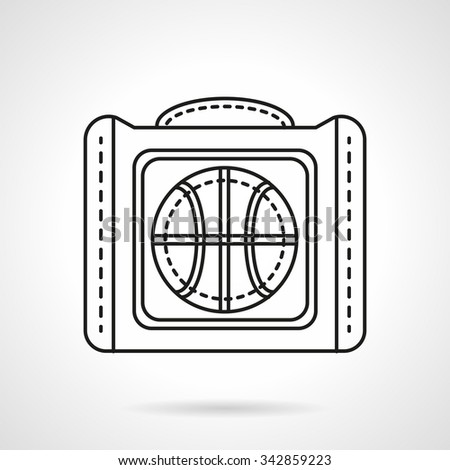 Sport bag for basketball ball. Sports items and accessories. Flat line style vector icon. Single web design element for mobile app or website. - stock vector