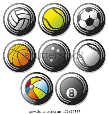 sport ball icons (beach ball, tennis ball, american football ball, football ball - soccer ball, volleyball ball, basketball ball, baseball ball, bowling ball, sport balls buttons) - stock vector