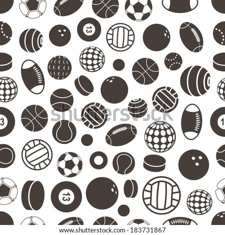 Sport ball silhouettes seamless pattern - stock vector