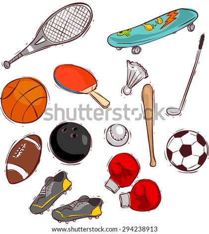 Sport balls and equipment - stock vector
