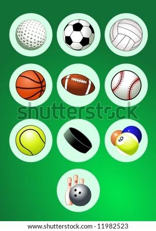 Sport Balls Icon Set - stock vector