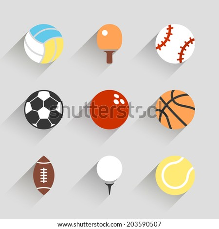 Sport balls icon set - vector white app buttons long shadow style with football soccer tennis baseball basketball golf  volleyball rugby bowling ping pong symbols - stock vector