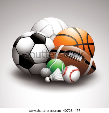 Sport balls on a light background - stock vector