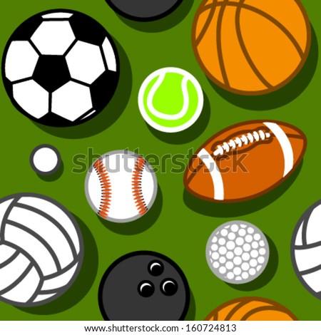 sport balls on green seamless pattern - stock vector