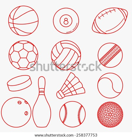 Sport balls, Set of red thin line icons in flat design -  vector illustration - stock vector