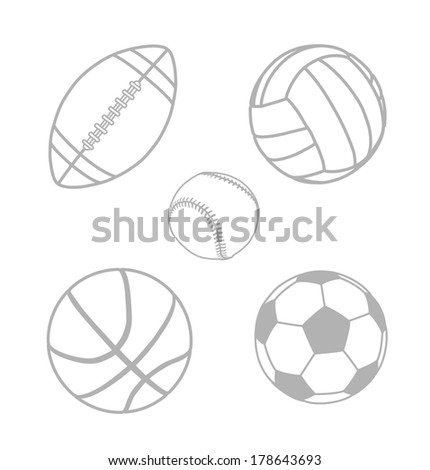 Sport balls vector illustration isolated on white background. Detailed vector illustration. Silhouettes - stock vector