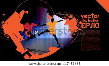 Sport banner, Soccer players - stock vector