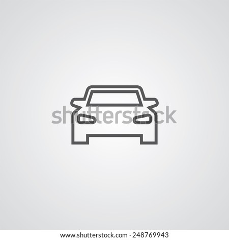 sport car outline thin symbol, dark on white background, logo editable, creative template  - stock vector