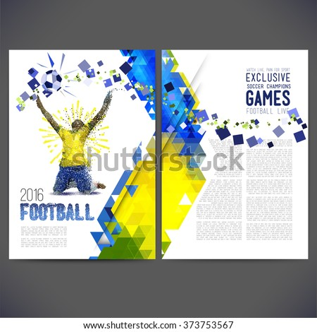 Sport championship. France euro 2016 flyer on a soccer theme. Painted figure of a football player of points and geometric shapes. Rio 2016.  - stock vector