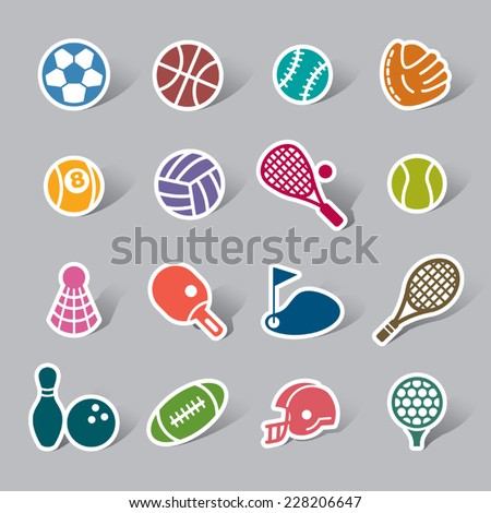 Sport Color Icon Label - stock vector