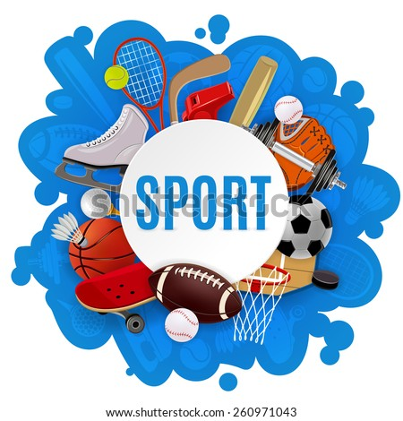 Sport equipment concept with competitive games accessories and sportswear vector illustration - stock vector