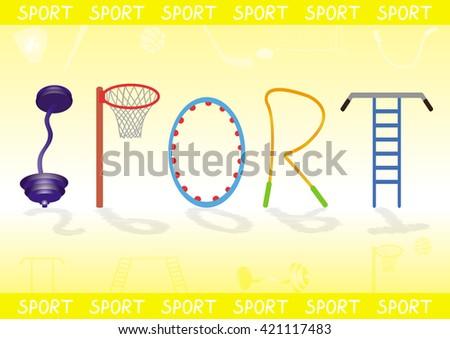 Sport Equipment Lettering - stock vector