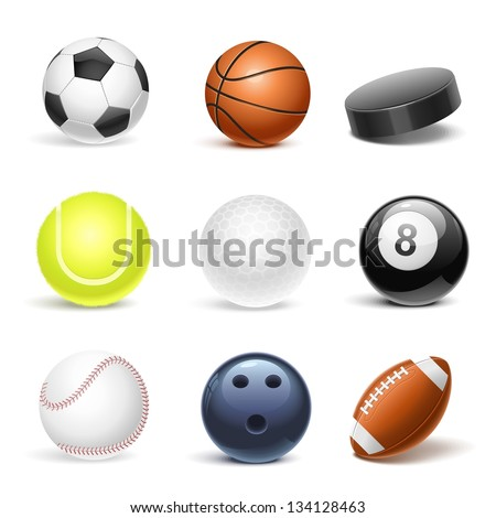 sport equipment vector icon set - stock vector