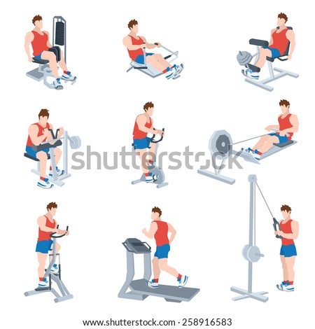 Sport exercise machines and fitness training apparatus set with men isolated vector illustration - stock vector