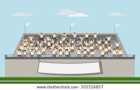 Sport Fans of White Team Cheering In The Stands. Vector - stock vector