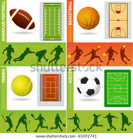 sport field, ball and design elements - stock vector