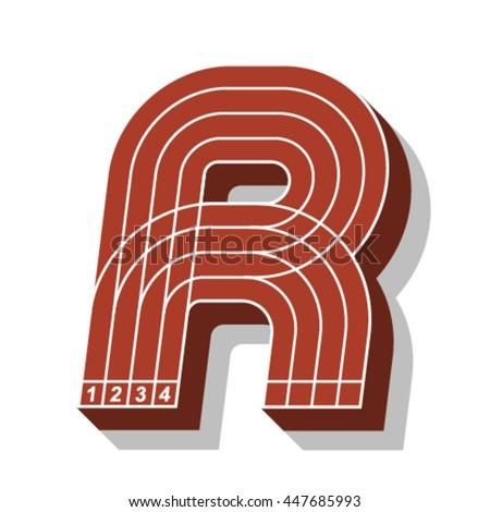 Sport font, letter R, running track, vector. - stock vector