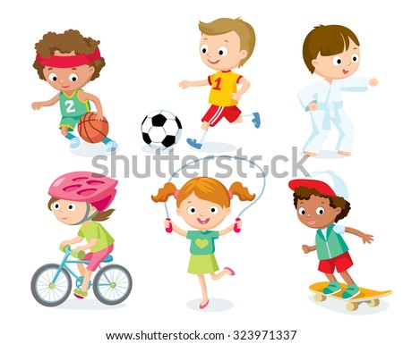 sport for kids including football, basketball, bicycle  - stock vector