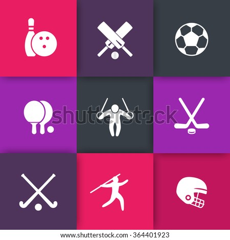 sport, games, competition icons on squares, vector illustration - stock vector