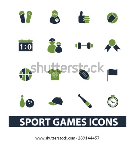 sport, games isolated icons, illustrations, vector - stock vector