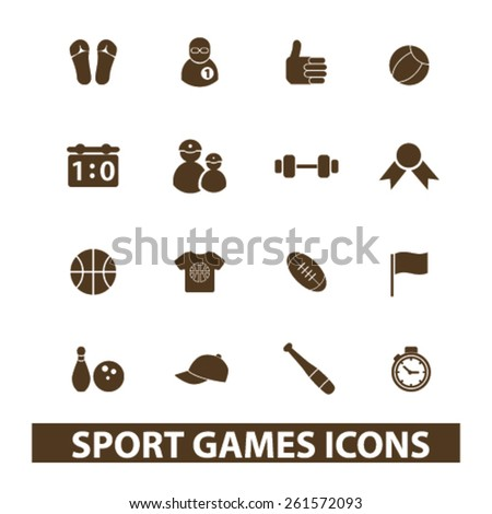sport, games isolated icons, signs, illustrations collection concept design set for web and application on background, vector - stock vector