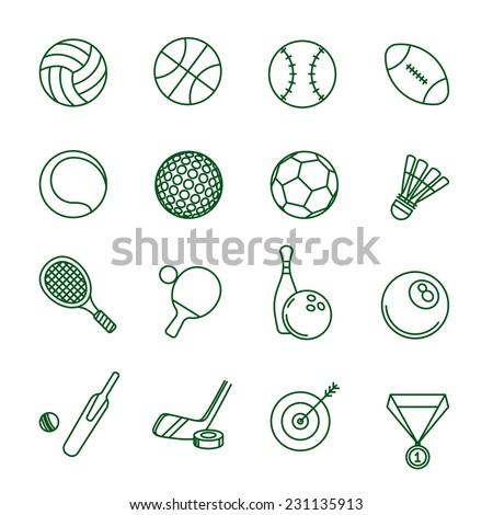Sport games thin line vector icon set. - stock vector