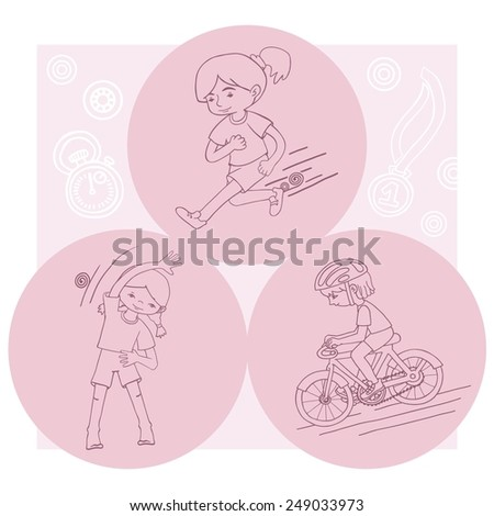 Sport girl contour vector drawing. Healthy lifestyle background. - stock vector