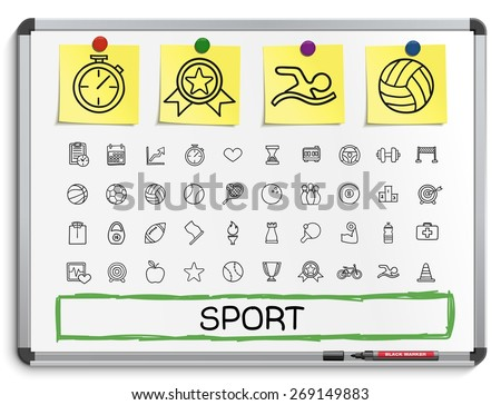 Sport hand drawing line icons. Vector doodle pictogram set: sketch sign illustration on white marker board with paper stickers: baseball, football, tennis, bicycle, pool, soccer, rugby, fitness.  - stock vector