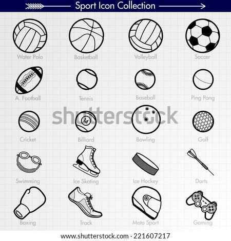 Sport Icon Collection. Outlines. Water Polo, Basketball, Volleyball, Soccer, American Football, Tennis, Baseball, Ping Pong, Cricket, Billiard, Bowling, Golf, Swimming, Running, Moto Sport, Gaming - stock vector