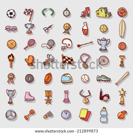 Sport icon set, Hand drawn vector illustration - stock vector