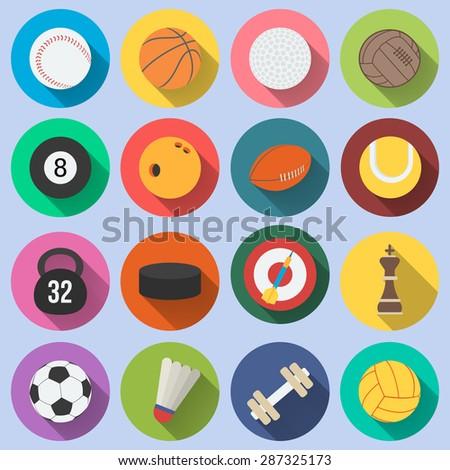 Sport icon set  in flat design. - stock vector