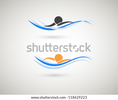 Sport icon. Swimming symbol. - stock vector