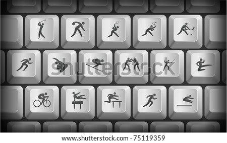Sport Icons on Gray Computer Keyboard Buttons Original Illustration - stock vector
