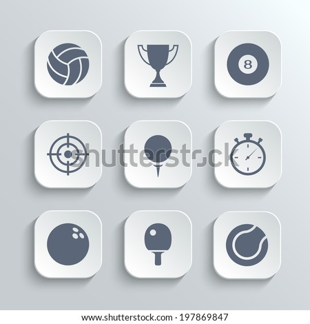 Sport icons set - vector white app buttons with volleyball trophy cup billiard  golf stopwatch bowling ping pong tennis - stock vector