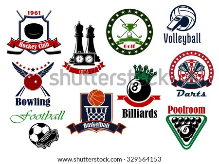 Sport icons with football, soccer, ice hockey, basketball, volleyball, golf, billiards, darts, chess and bowling game items - stock vector
